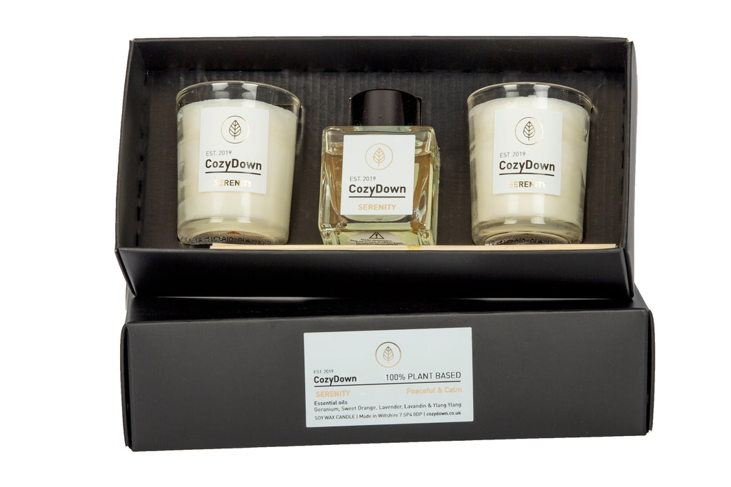New Product! Serenity Essential Oil Gift Set. contains 2 glass votives and 1 natural rattan reed diffuser. 100% plant based. soy wax. Alcohol & glycol free. VEGAN