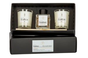 CozyDown Citrus Zip NEW aromatherapy essential oil Gift Set. Comprises 2 recycled glass votives containing 100% plant wax, and a mini natural reed room diffuser. VEGAN Soy wax. glycol and alcohol free. Essential oils of lemon, lemongrass, lime and orange