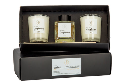 CozyDown Zen NEW aromatherapy essential oil Gift Set. Comprises 2 recycled glass votives containing 100% plant wax, and a mini natural reed room diffuser. VEGAN Soy wax. glycol and alcohol free.