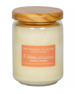 jasmine orange fine fragrance candle plant based vegan recycled glass soy wax ethical responsible  sourced ingredients