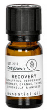 Load image into Gallery viewer, cozydown recovery 10ml essential oil blend eucalyptus peppermint rosemary thyme orange citronella aniseed recycled glass vegan pure