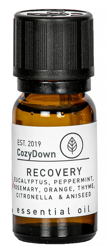 cozydown recovery 10ml essential oil blend eucalyptus peppermint rosemary thyme orange citronella aniseed recycled glass vegan pure