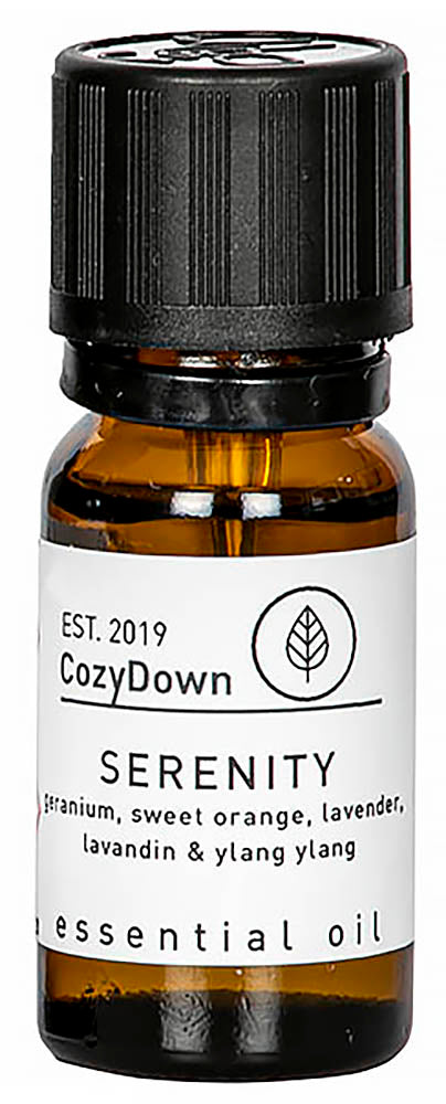 CozyDown Pure Essential Oil Blend geranium sweet oranfe ylang ylang lavandin lavender 10 ml suitable for oil burmers and diffusers plant based vegan ethical responsible sourced ingredients