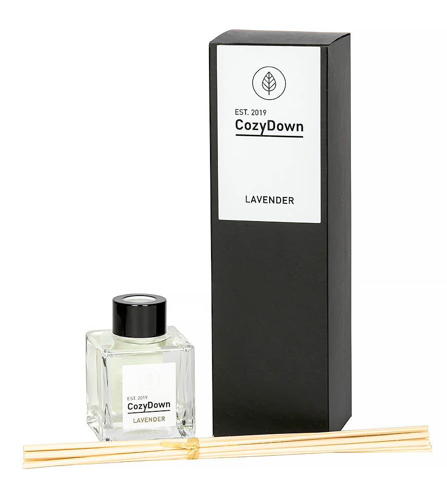 natural rattan reed diffuser with pure lavender essential oi. recycled glass amd packaging
