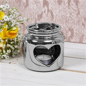 Heart Candle Holder Silver 10cm