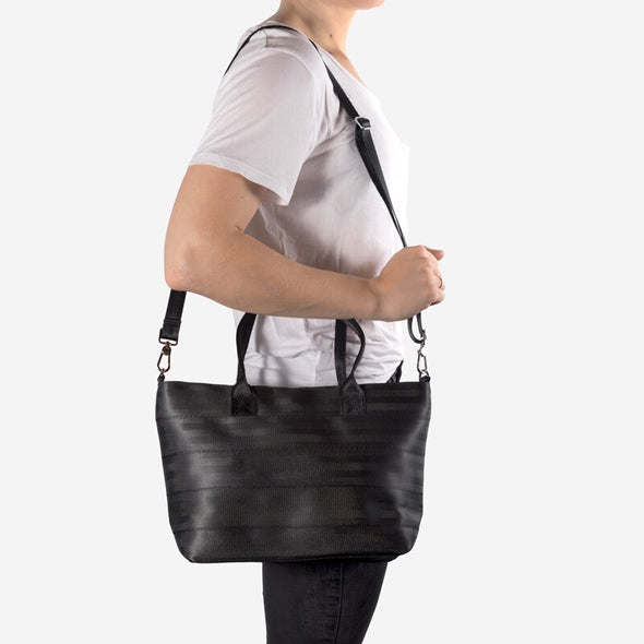 Mini Streamline Tote black Crossbody strap