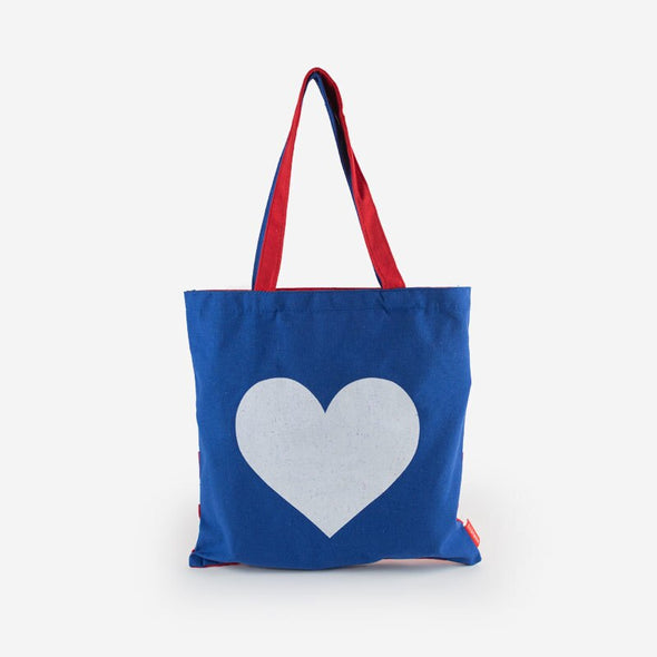 Canvas Tote Heart Flag Front