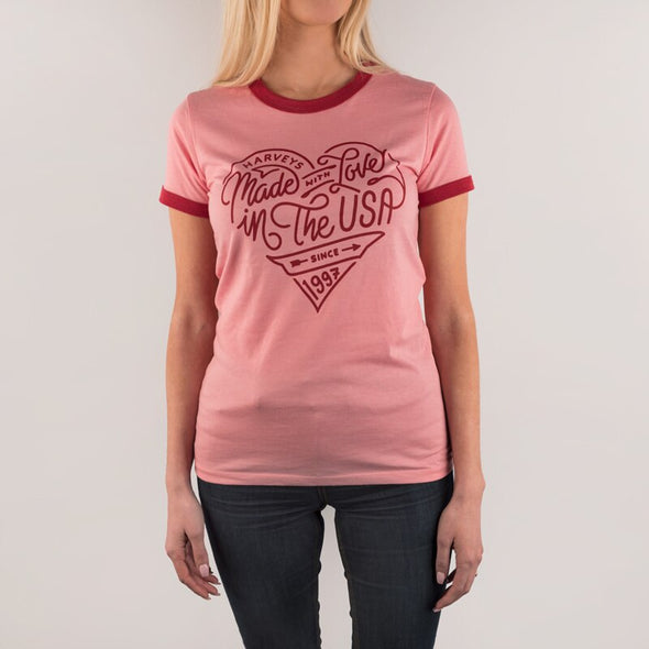 Harveys Pink Ringer Tee Made with Love