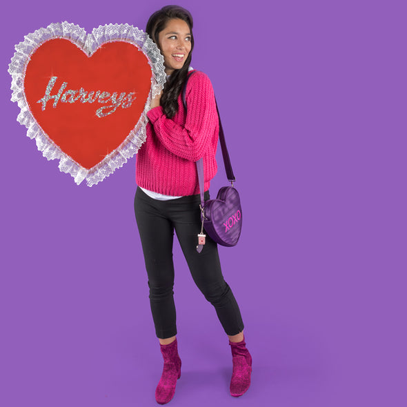 XOXO Heart Shaped Seatbelt bag Purple