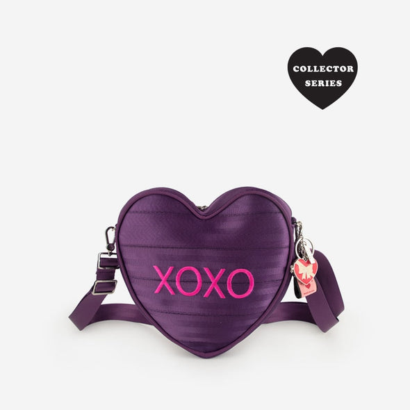 Sweetheart Convertible XOXO Purple Heart Seatbelt bag