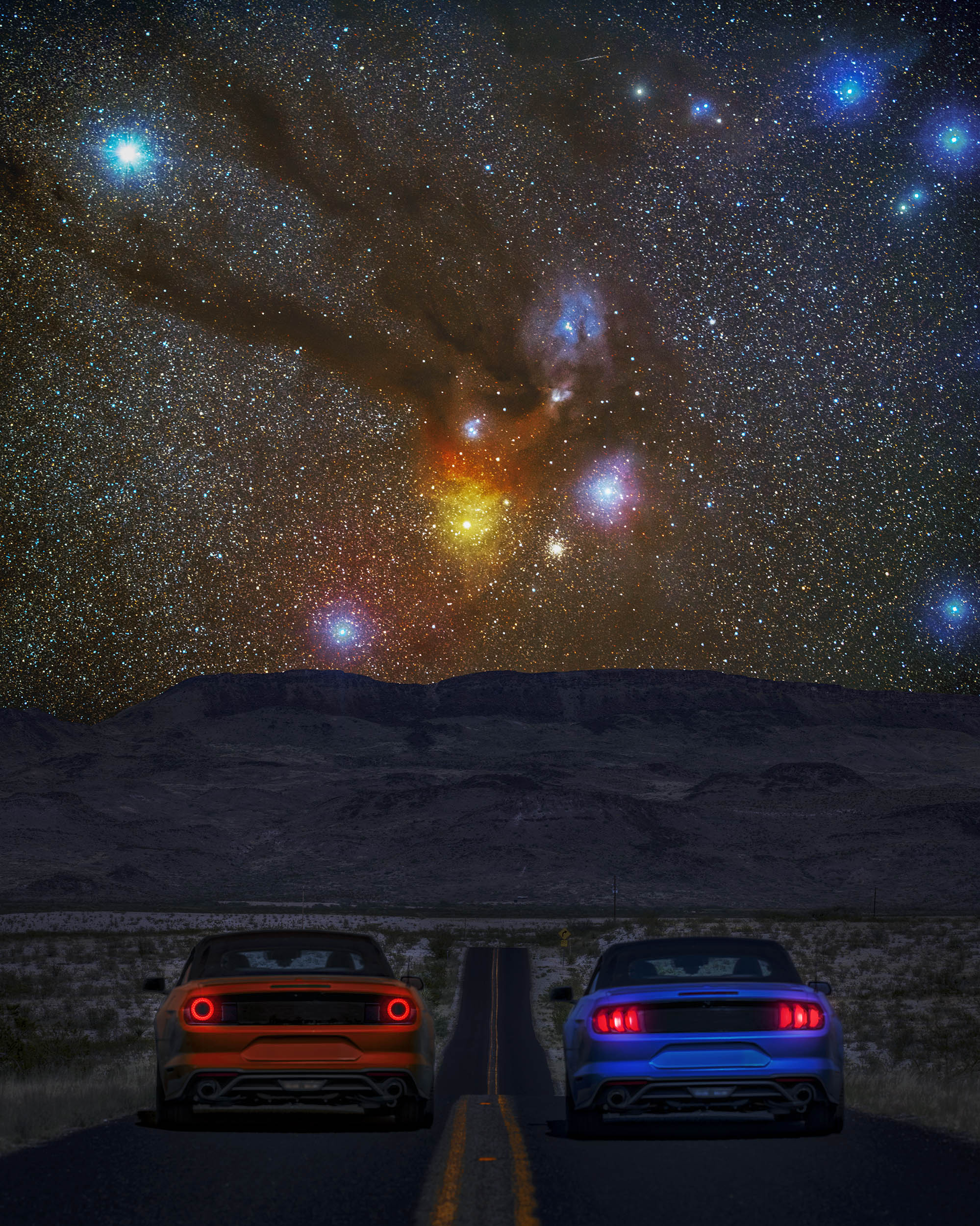 """Need For Stars"" Racing Mustangs in Big Bend, TX Milky Way Print"
