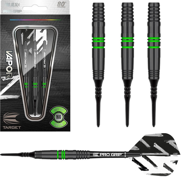 Vapor Z Black with Green Rings Tungsten Soft Tip Darts by Target