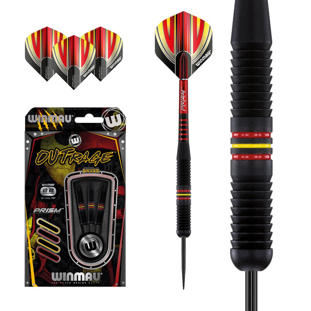 Outrage 1231 Black Brass Steel Tip Darts by Winmau