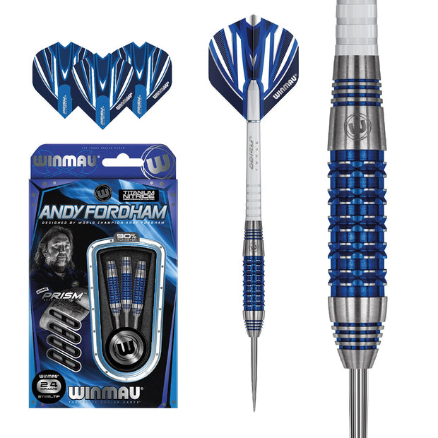 Andy Fordham Blue Titanium Nitride 90% Tungsten Steel Tip Darts by Winmau