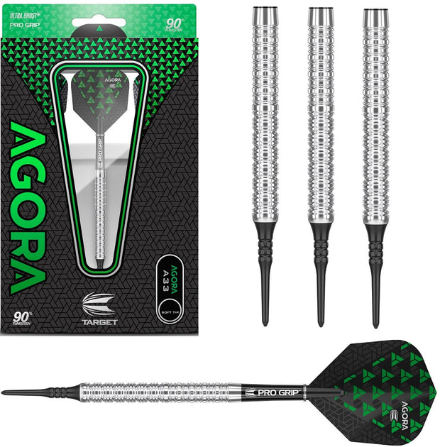 Agora A33 90% Tungsten Soft Tip Darts by Target