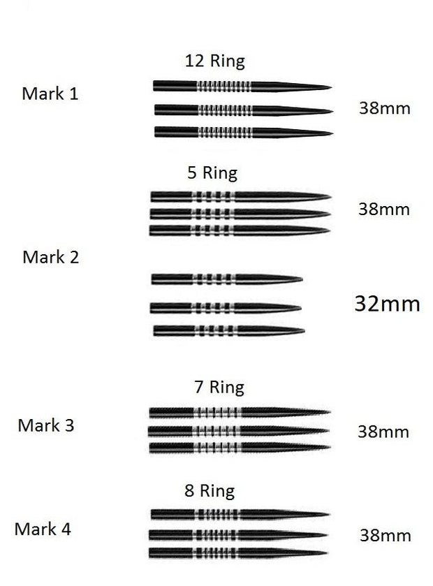 ORIGINAL CD GRIP POINTS MK1 GOLD 9 RING 32mm  REPLACEMENT DART POINTS PACK OF 3