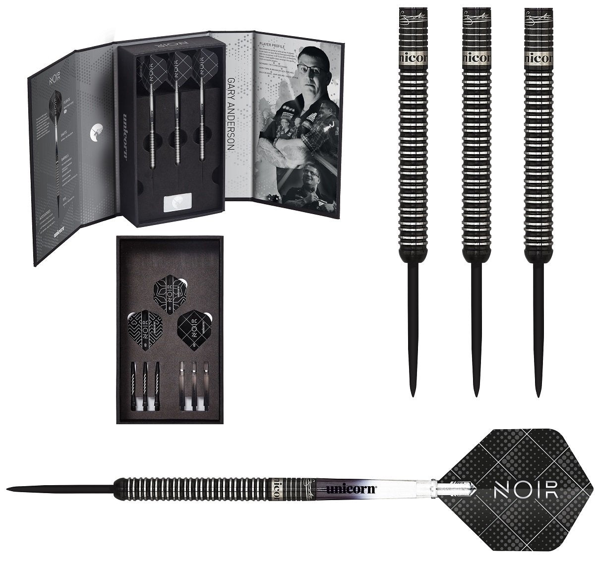 Gary Anderson Noir Deluxe Player Edition Phase 3 World Champion Steel Tip  Darts by Unicorn