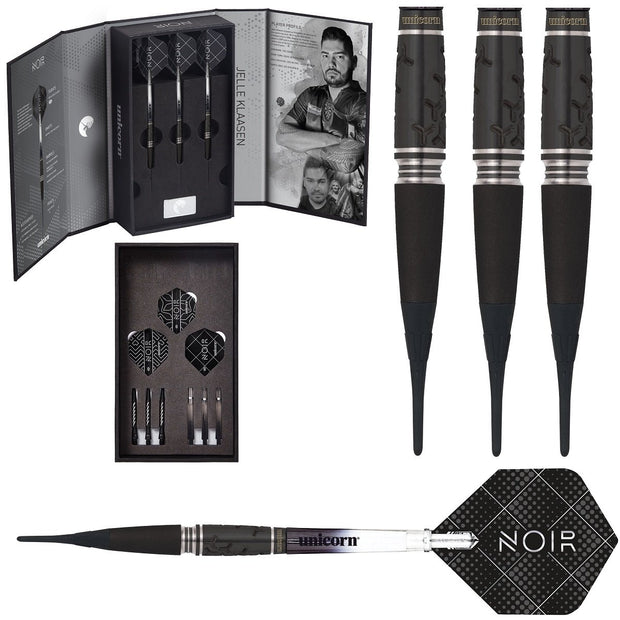 Jelle Klaasen Noir Deluxe Player Edition World Champion 90% Tungsten Soft Tip Darts by Unicorn