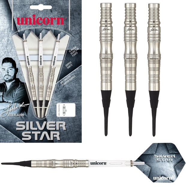 Jelle Klaasen Silver Star 70/80% Tungsten Soft Tip Darts by Unicorn