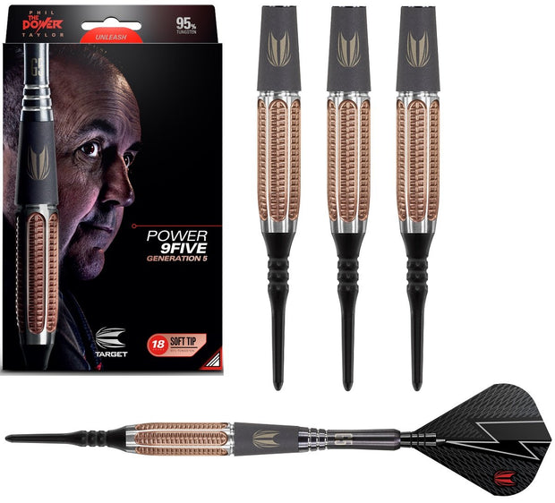 Phil Taylor Gen 5 9FIVE 95% Tungsten Soft Tip Darts by Target