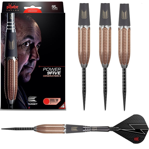 Phil Taylor Gen 5 9FIVE 95% Tungsten Steel Tip Darts by Target