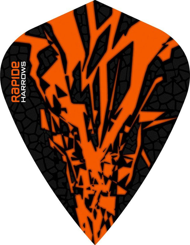 Harrows Rapide X Kite Orange on Black Dart Flights