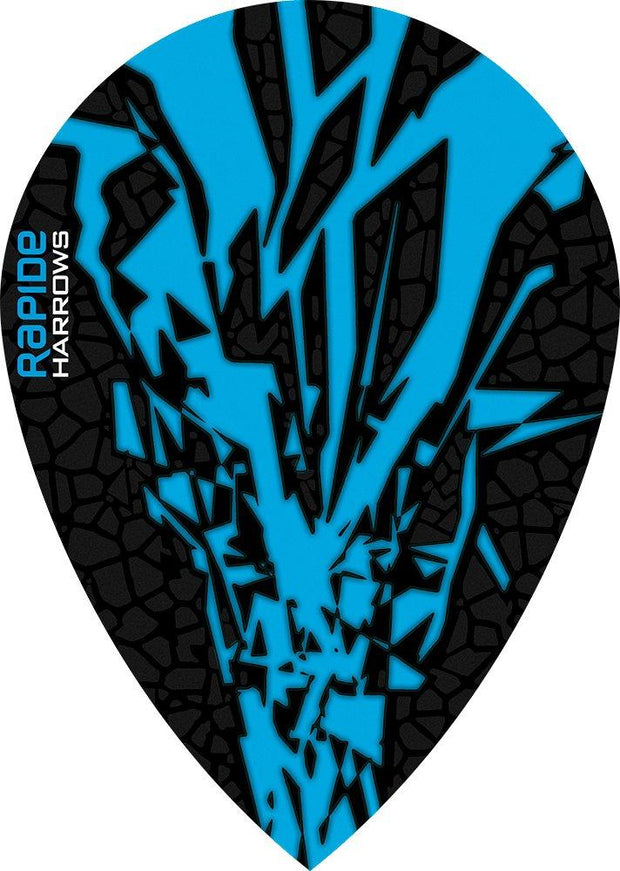 Harrows Rapide Pear Aqua on Black Dart Flights