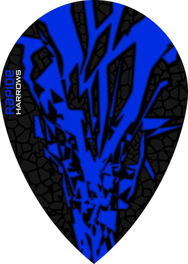 Harrows Rapide Pear Blue on Black Dart Flights