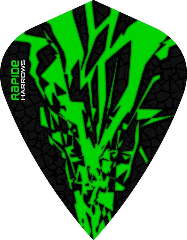 Harrows Rapide X Kite Green on Black Dart Flights