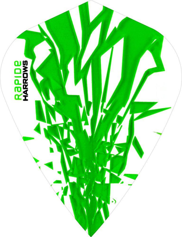 Harrows Rapide Kite Green on White Dart Flights