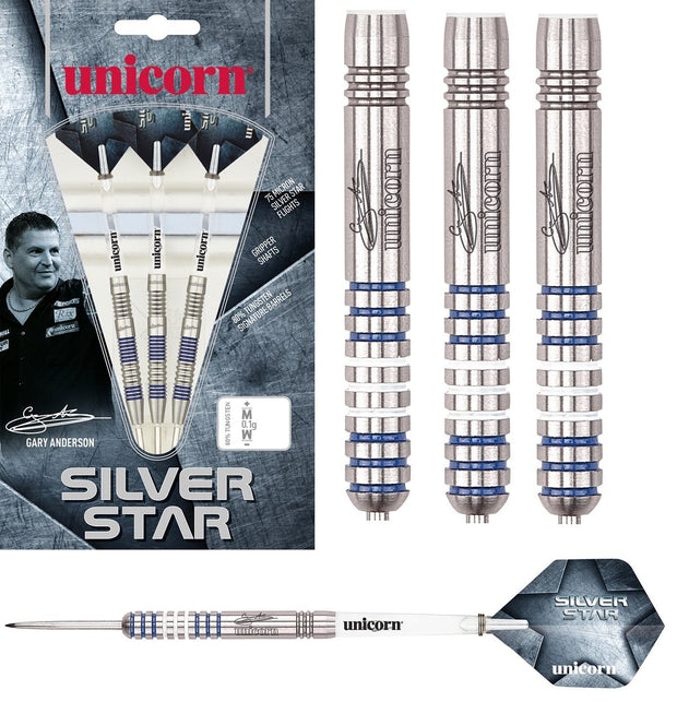 Gary Anderson Silver Star Style 1 80% Tungsten Steel Tip Darts by Unicorn