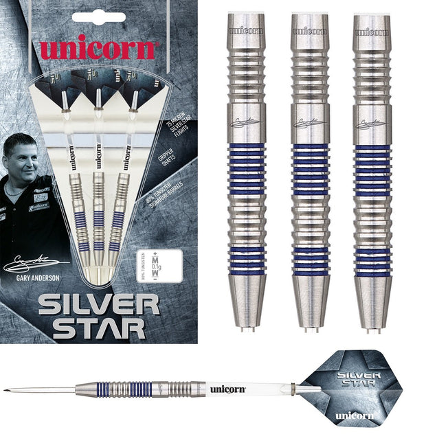 Gary Anderson Silver Star Style 2 80% Tungsten Steel Tip Darts by Unicorn