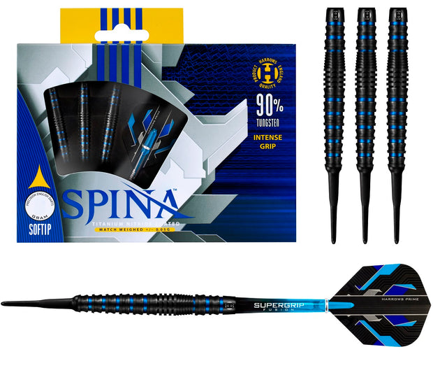 Harrows Spina Blue 90% Tungsten Soft Tip Darts