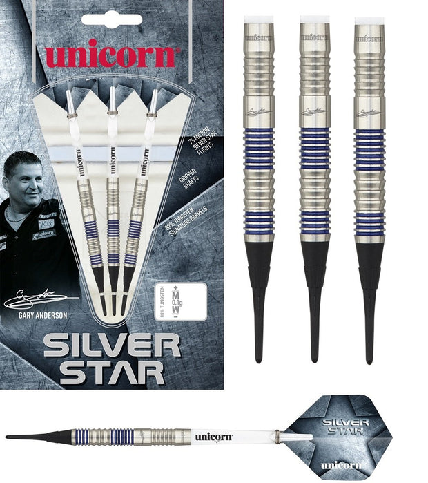Gary Anderson Silver Star Style 3 80% Tungsten Soft Tip Darts by Unicorn
