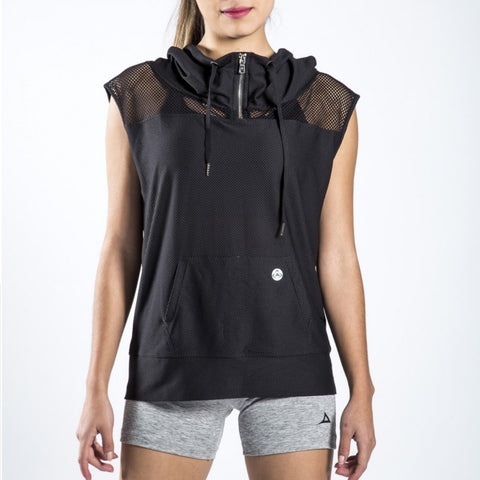 59166 Women's Active Hooded Vest - Black