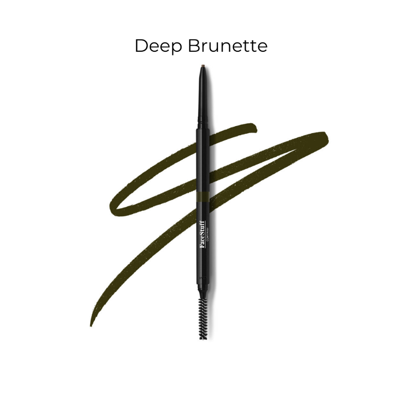 Cruelty free brow defining pencil in deep brunette with brow brush | FaceStuff Co