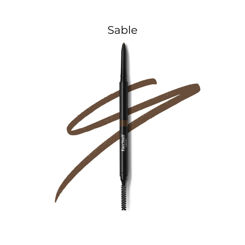 Cruelty free brow defining pencil in sable with brow brush | FaceStuff Co