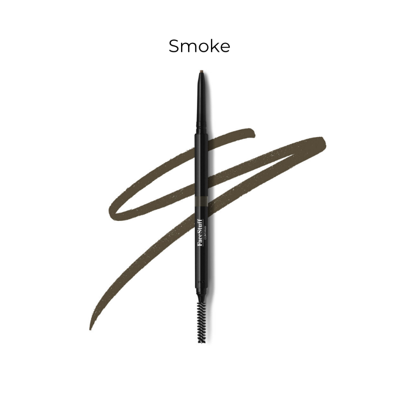 Cruelty free brow defining pencil in smoke with brow brush | FaceStuff Co