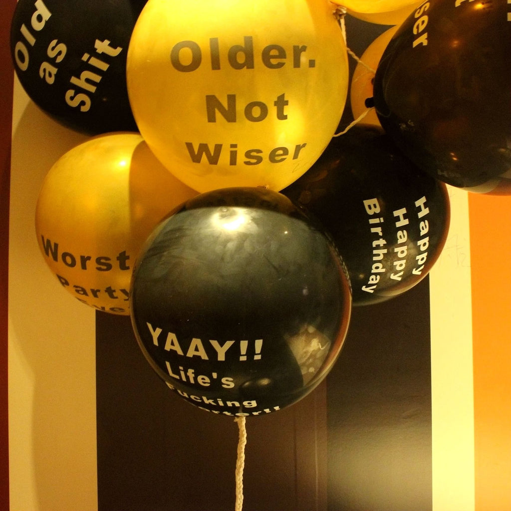 Abusive Birthday Balloons Naughty Funny Offensive For Her Him Adults Party Gold Black