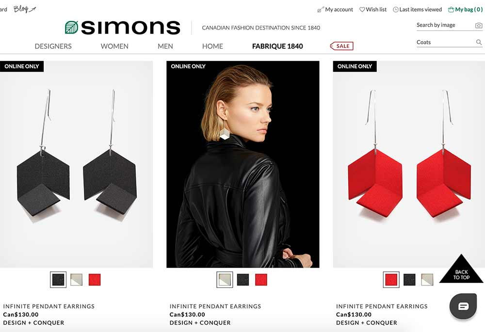 Simons, earrings, ecommerce, design and conquer, stocklist