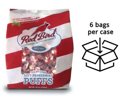 Red Bird Peppermint Candy Puffs Case - Six (6) 46 oz Bags **NOW AVAILABLE!***