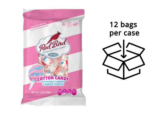 Red Bird Cotton Candy Puffs Case - Twelve (12) 4 oz Peg Bags