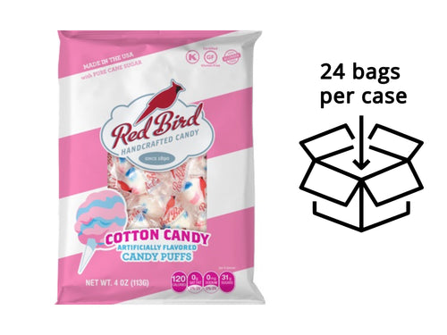 Red Bird Cotton Candy Puffs Case - Twenty-Four (24) 4 oz Peg Bags