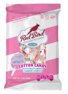 Red Bird Cotton Candy Puffs Case - Twenty-Four (24) 4 oz Bags