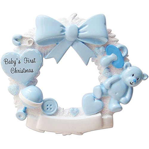 Personalized Baby's 1st Christmas Wreath Tree Ornament 2019 - White Glitter Round Ribbon Teddy Bear Toy Heart Pacifier Boy's Love New Mom Shower Grand-Son Kid Gift Year - Free Customization (Blue)