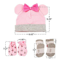 Disney Baby Girls Minnie Mouse Hat, Mitts and Socks Take Me Home Gift Set, Age 0-3M