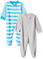 Amazon Essentials Boys' Baby 2-Pack Sleep and Play