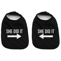He Did It She Did It Arrow Twin Set Unisex Newborn Baby 100% Cotton Bibs