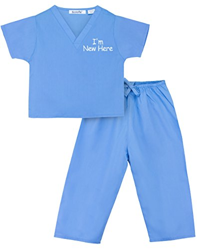 Scoots Baby Boys' I'm New Here Scrubs, Blue