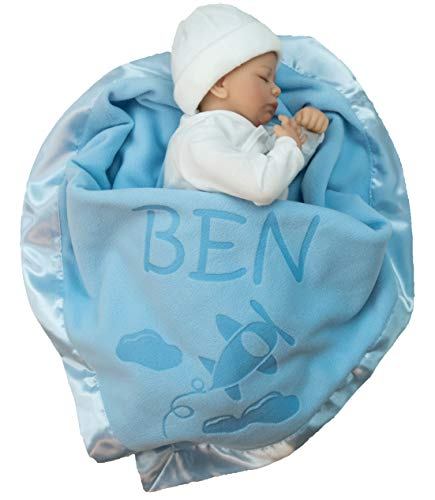 Custom Catch Personalized Airplane Baby Blanket - Boy Name Gift - Blue or Pink (1 Text LIne)